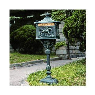 Yesteryear Cast Aluminum Locking Mailbox and Post Set   Verdigris