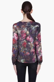 Haute Hippie Floral Silk Draped Front Blouse for women