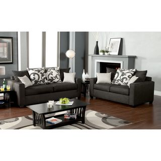Aizo Modern Gray Fabric 2 Piece Sofa Set