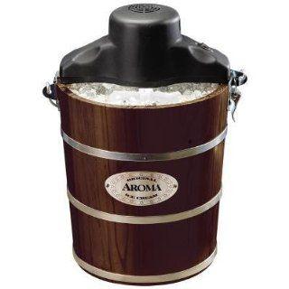 Aroma AIC 224W 4 Quart Wood Barrel Ice Cream Maker, Walnut