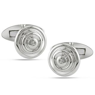 14k White Gold Diamond Accent Cuff Links