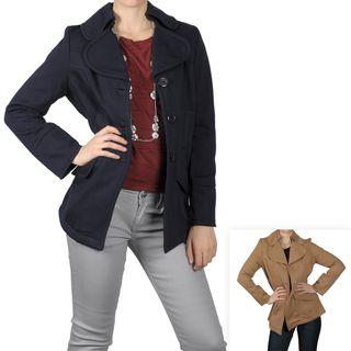 Journee Collection Womens Fleece Button Front Coat