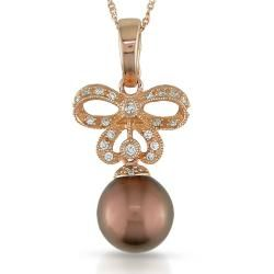 14k Pink Gold 1/6ct TDW Diamond Tahitian Pearl Necklace (G H, SI2