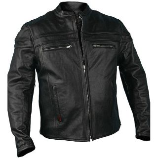 Leather Mens Black with Double Piping Motorcycle Jacket