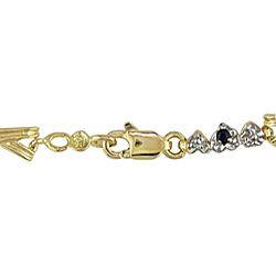 Miadora 10k Gold X and Heart Link Blue Sapphire Bracelet