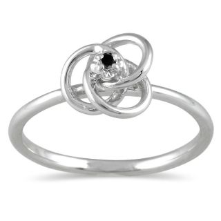 10k White Gold Black Diamond Promise Ring
