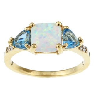 10k Yellow Gold Created Opal and Blue Topaz Ring