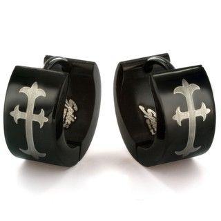 West Coast Jewelry Blackplated Stainless Steel Cross Print Hoop