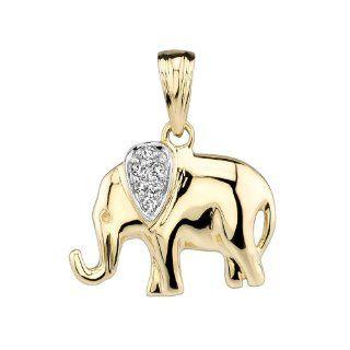 14kt Yellow Gold Diamond Elephant Pendant Jewelry