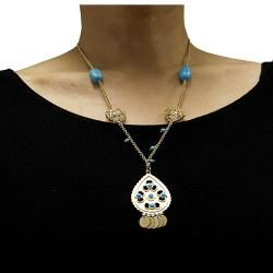 Adee Waiss 18k Yellow Gold Overlay Magnesite Turquoise Charm Necklace