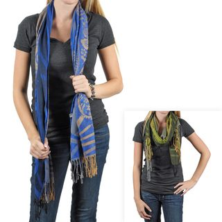 Journee Collection Womens Floral Pattern Fringed Scarf