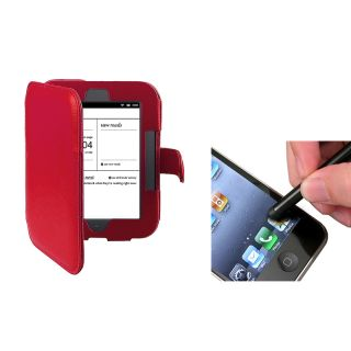 Red Leaher Case/ Sylus for Barnes & Noble Nook 2