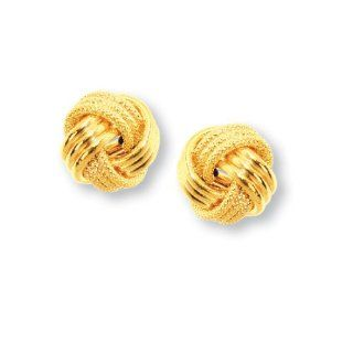 14k Yellow Gold 15mm Love Knot Earrings Jewelry