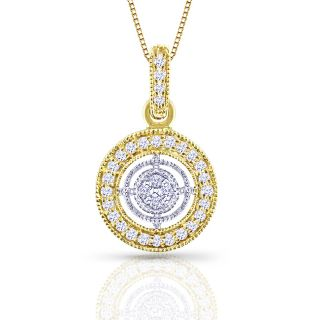 14k Two Tone Gold 1/8ct TDW Diamond Circle Necklace (H I, I1 I2