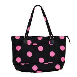 Jenni Chan Womens Black/Pink Dots Laptop Tote Bag