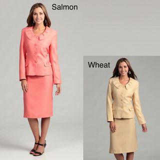 Danillo Womens Ruffle Collared Skirt Suit