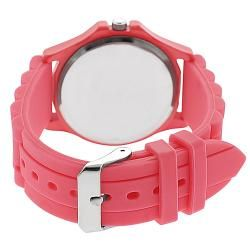 Geneva Platinum Womens Rhinestone accented Neon Pink Silicone Watch