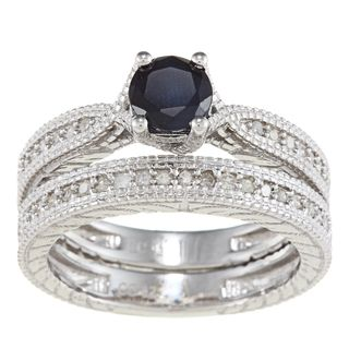 Viducci Sterling Silver Sapphire and 1/3ct TDW Diamond Ring Set (G H