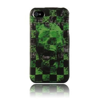 Luxmo iPhone 4/ 4S Green Carbon Fiber Skull Protector Case