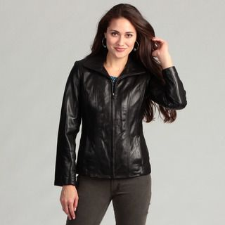 Jones New York Womens Black Leather Jacket
