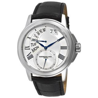 Raymond Weil Mens Tradition Black Strap Day Date Watch