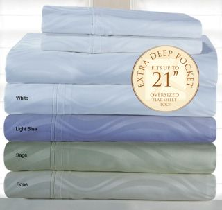 Pima Cotton 350 Thread Count Deep fitted Jacquard Sheet Set