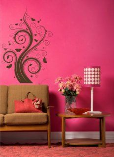 Swirl Tree with Butterflies Wall Decal Stickers Decor