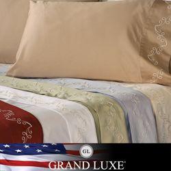 Grand Luxe Egyptian Cotton Sateen 500 Thread Count Scroll Deep Pocket