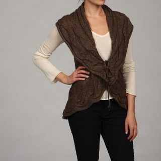 Romeo & Juliet Womens Cable knit Open Sweater Vest