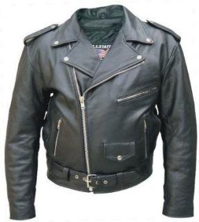 Mens Black Genuine Cowhide Solid Leather Motorcycle Biker