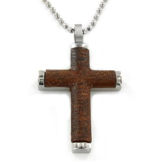 West Coast Jewelry Stainlees Steel with Wood Inlay Cross Pendant