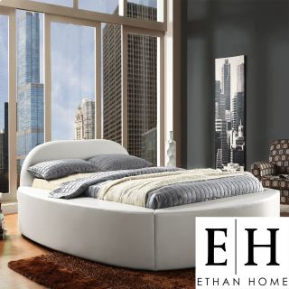 ETHAN HOME Dorchester White Bonded Leather Modern Upholstered Bed