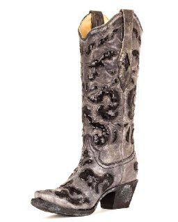 Corral Womens Black Crater Sequins Inlay Boot   A1065 Shoes