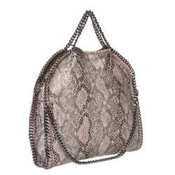 Stella McCartney Falabella Python Print Canvas 3 strap Tote Bag