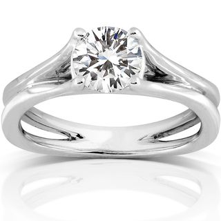 14k White Gold 1ct DEW Moissanite Solitaire Engagement Ring