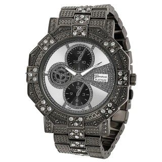 Geneva Platinum Chronograph style Rhinestone Gunmetal Link Watch