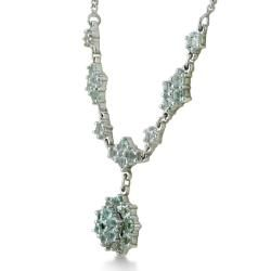 Sterling Silver Aquamarine Flower Necklace (2/3ct TGW)
