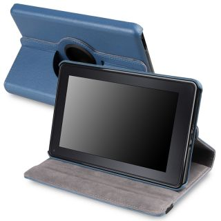 Blue 360 degree Swivel Leather Case Version 2 for  Kindle Fire