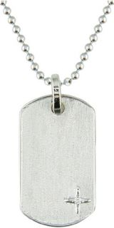 14k White Gold Diamond Mini Dog Tag