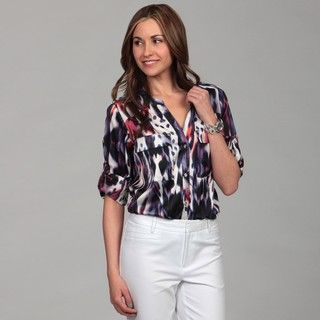 Calvin Klein Womens Sapphire Abstract Blouse