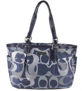 Coach Optic Signature Gallery Metallic Tote Bag 19664 Navy Blue Shoes