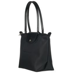 Longchamp Small Planetes Black Nylon Shopper Bag