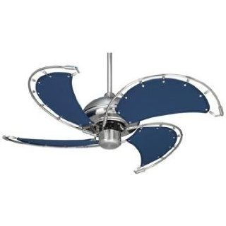 40 Casa Vieja Aerial Brushed Nickel Blue Blades Ceiling Fan