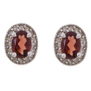 14k White Gold 1/4ct TDW Diamond Garnet Earrings