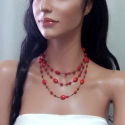 Red Coral Triple Layer Floating Bubble Cotton Rope Necklace (Thailand