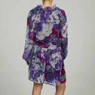 Argenti Womens Abstract Floral Chiffon Blouson Ruffled Tunic Dress