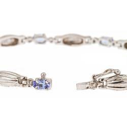 Yach Sterling Silver Tanzanite and White Sapphire Fashion Bracelet