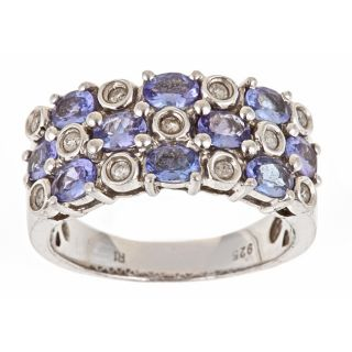 Yach Sterling Silver Tanzanite and 1/6ct TDW Diamond Ring (G H, I1