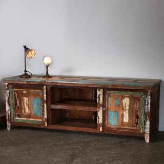Weathered Reclaimed Wood Low Entertainment Center (India)