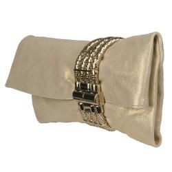 Jimmy Choo Chandra Gold Leather Shimmer Clutch